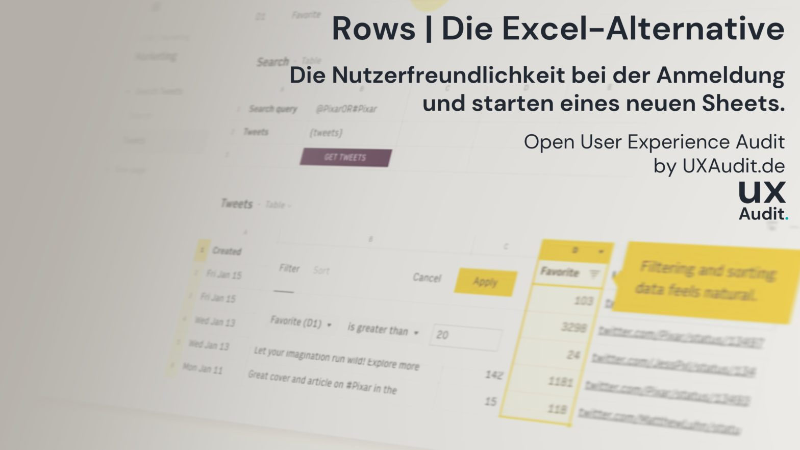 open user experience audit rows